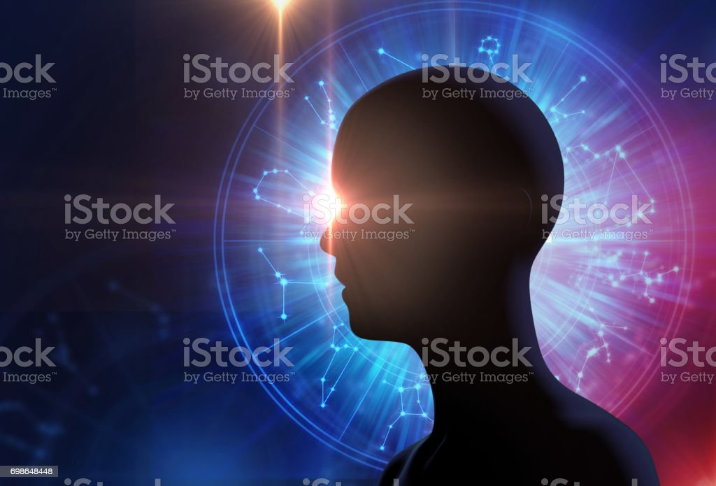 silhouette of virtual human on Astrology and alchemy sign . stock photo