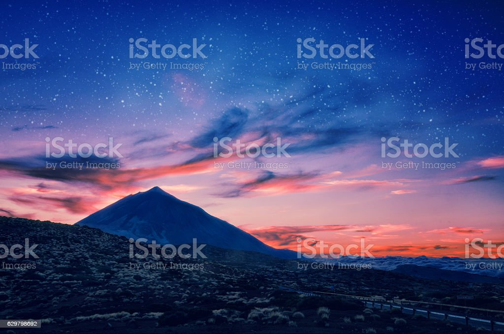Silhouette of volcano del Teide against a sunset sky. stock photo