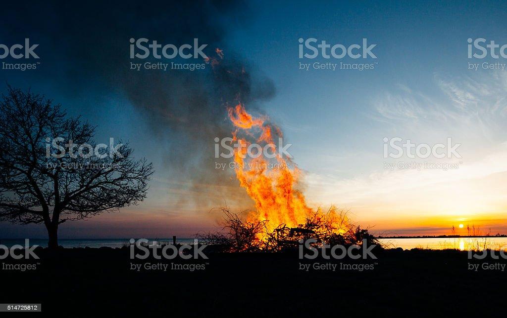 silhouette of Walpurgis Night stock photo