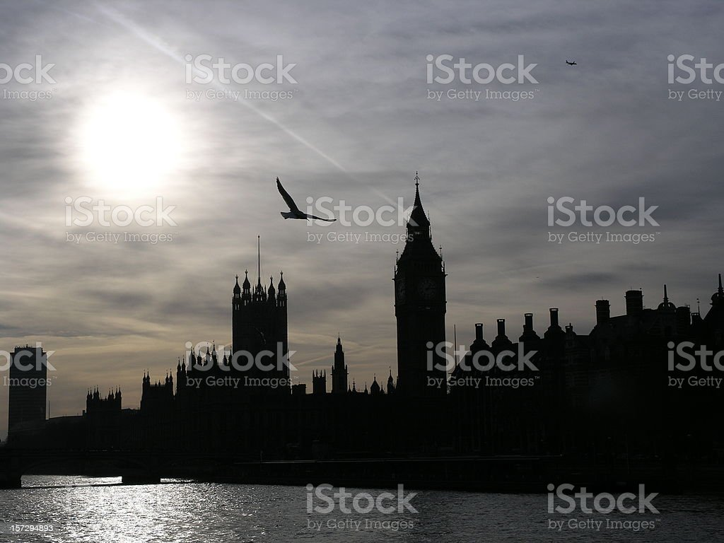 Silhouette of Westminster royalty-free stock photo