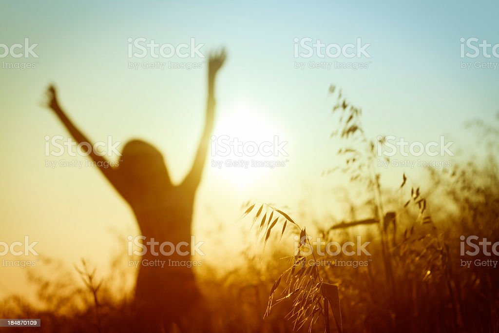 Silhouette of woman in sunny summer meadow stock photo
