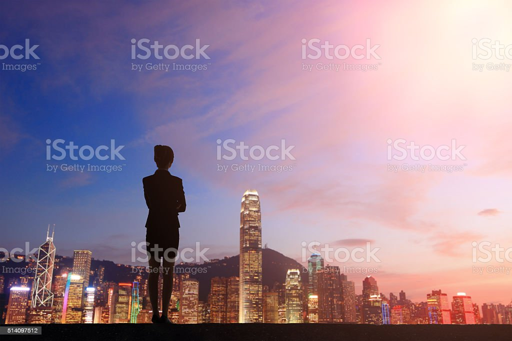 Silhouette of Young business Woman stock photo