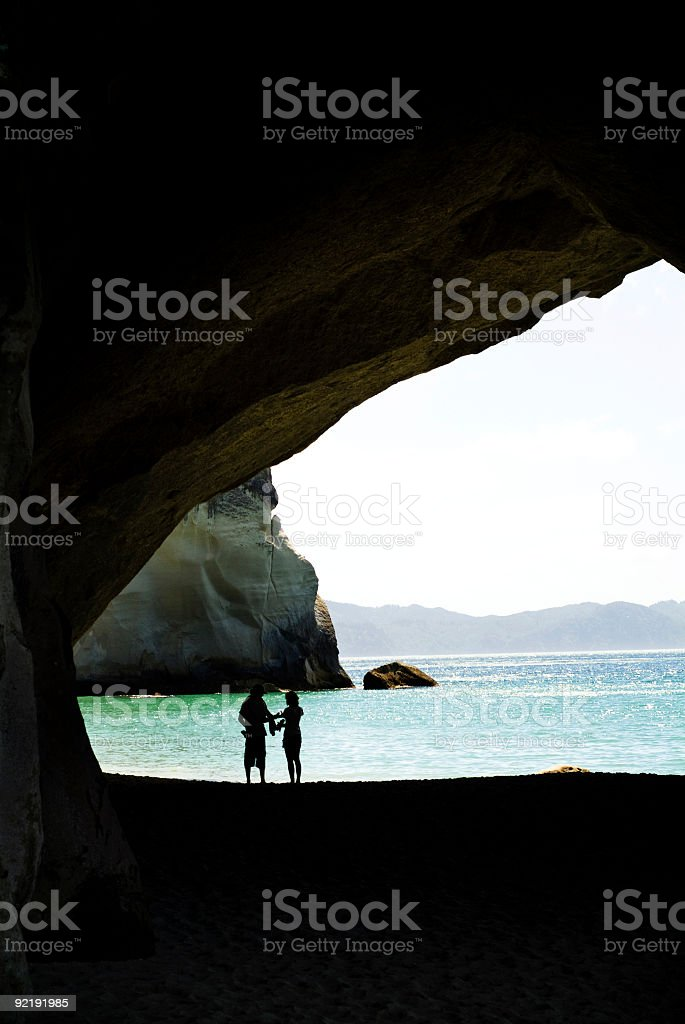Silhouette of young couple royalty-free stock photo