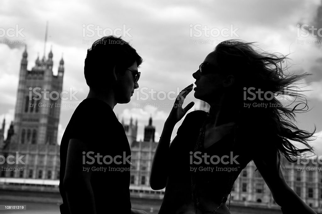 Silhouette of Young Woman's Hair Blowing in London Wind royalty-free stock photo