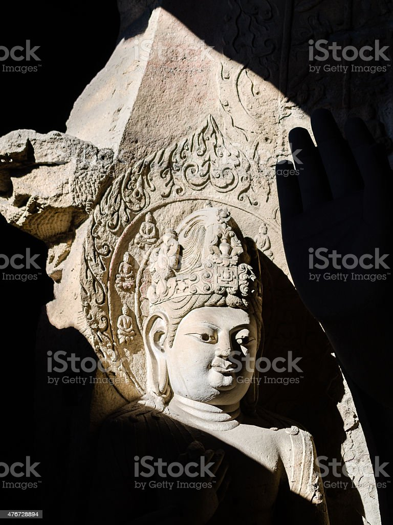 Silhouette of Yungang Buddhist Caves stock photo
