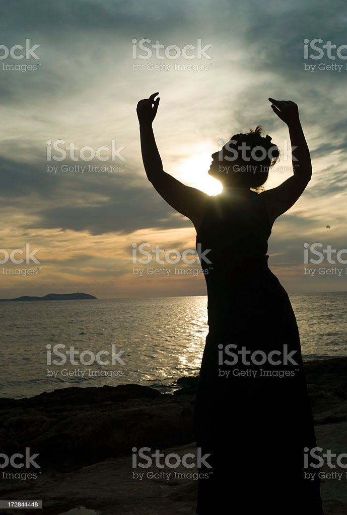 Silhouette on the beah stock photo