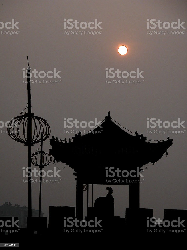 Silhouette on the Wall, Xiangfan, China royalty-free stock photo