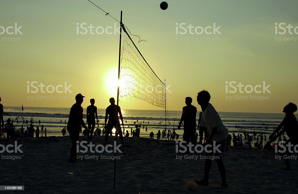 silhouette people playing volleyball royalty-free stock photo