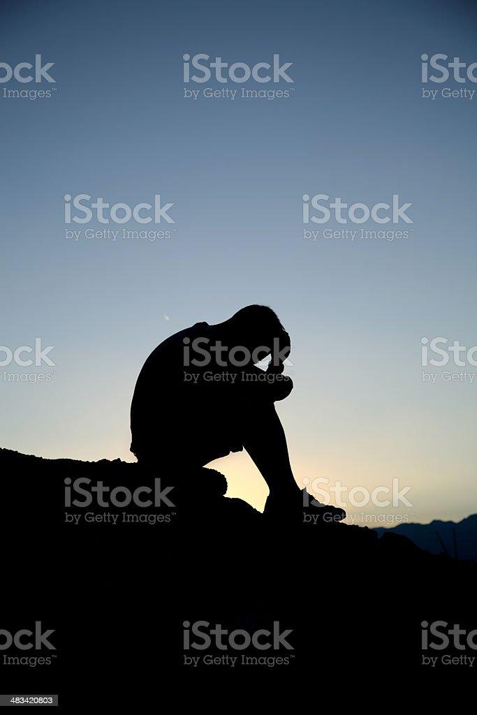 Silhouette (sadness) royalty-free stock photo