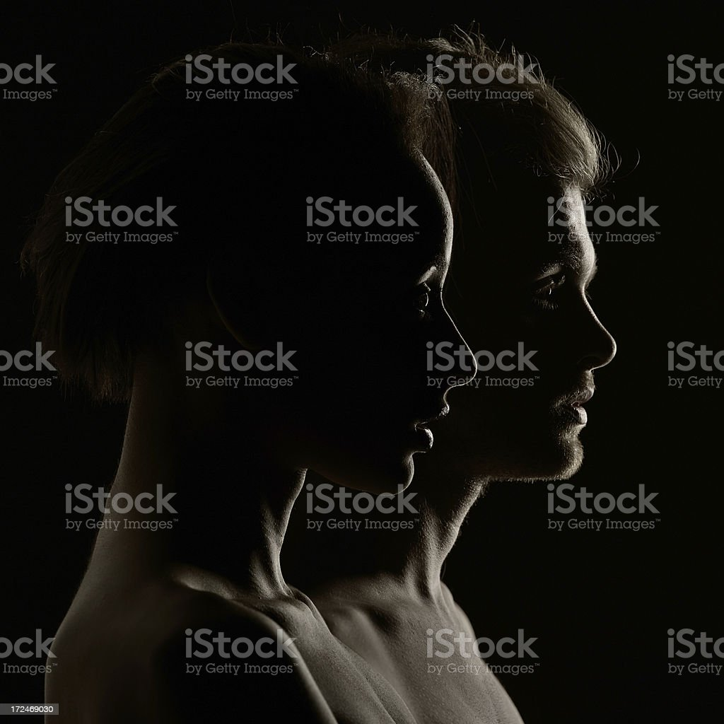 Silhouette Portrait of a Couple royalty-free stock photo