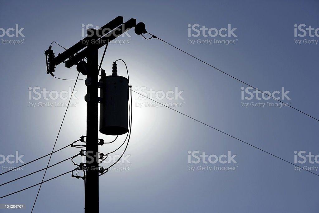 Silhouette Powerlines stock photo