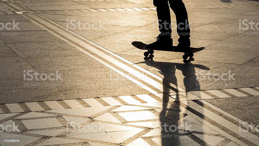 Silhouette skateboard royalty-free stock photo