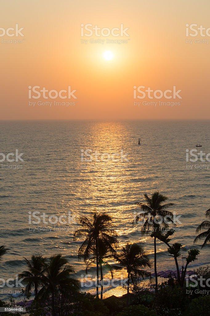 silhouette sunrise at beach and sea in Thailand stock photo