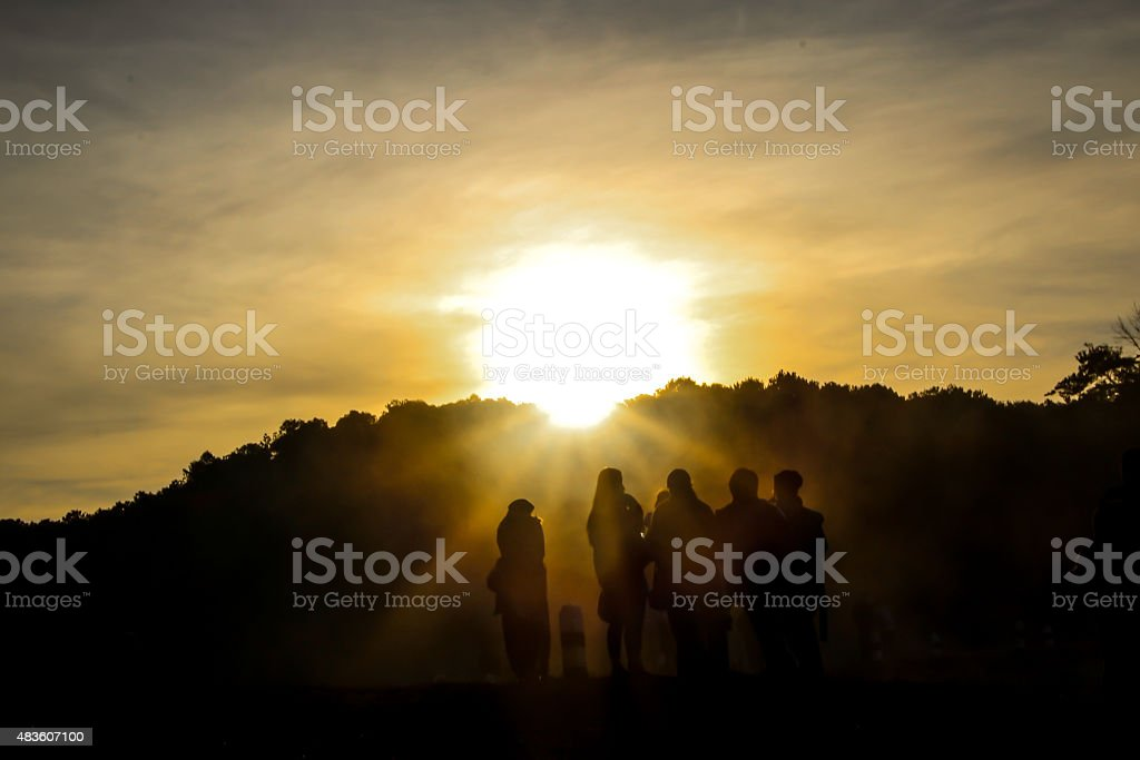 Silhouette sunset in mountains royalty-free stock photo