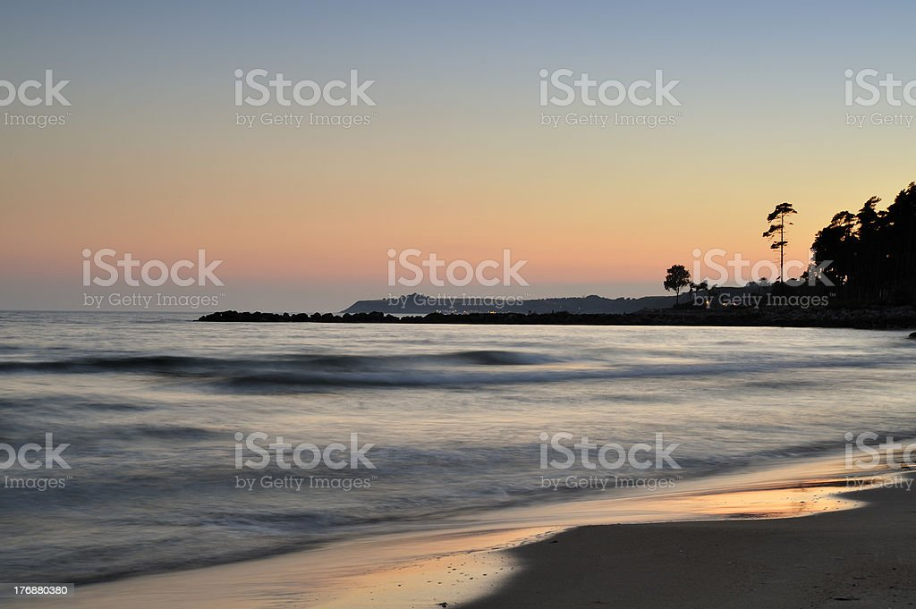 Silhouette Sunset on the Beach royalty-free stock photo