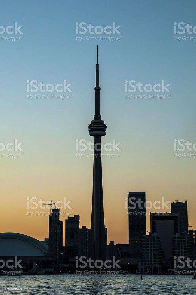 silhouette toronto sunset royalty-free stock photo