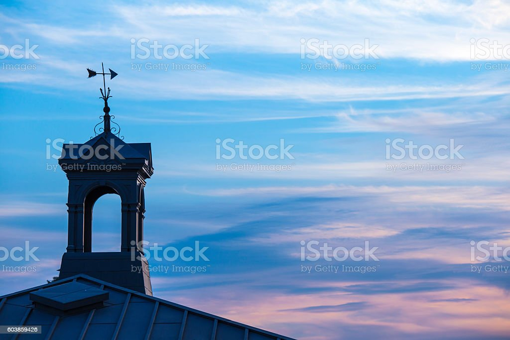 Silhouette Tower in Sunset stock photo