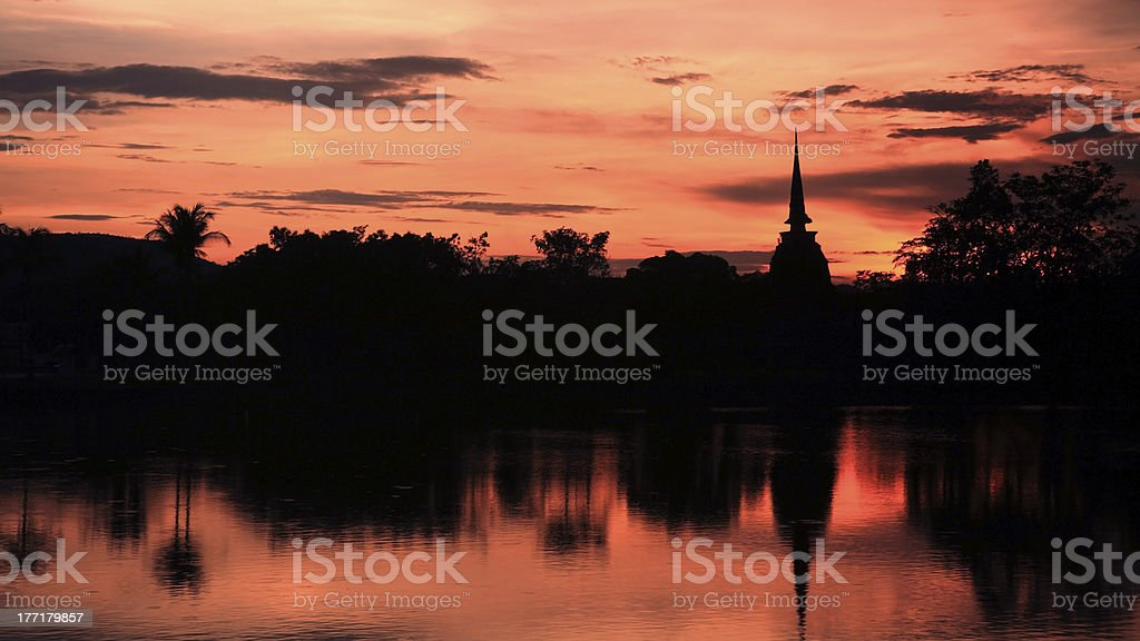 Silhouette view of pagoda at twilight sky royalty-free stock photo