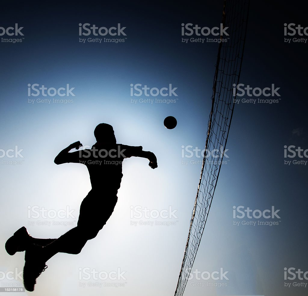 silhouette Volleyball player stock photo