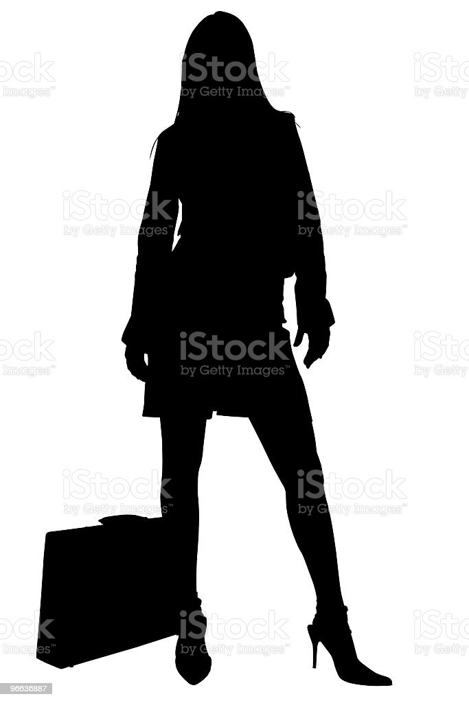 Silhouette With Clipping Path of Business Woman stock photo