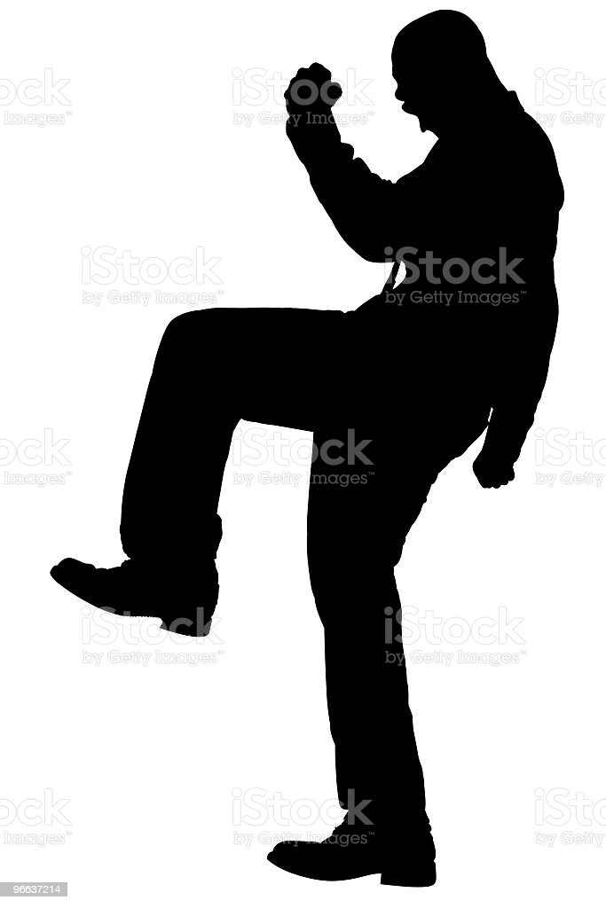 Silhouette With Clipping Path of Man Stomping stock photo