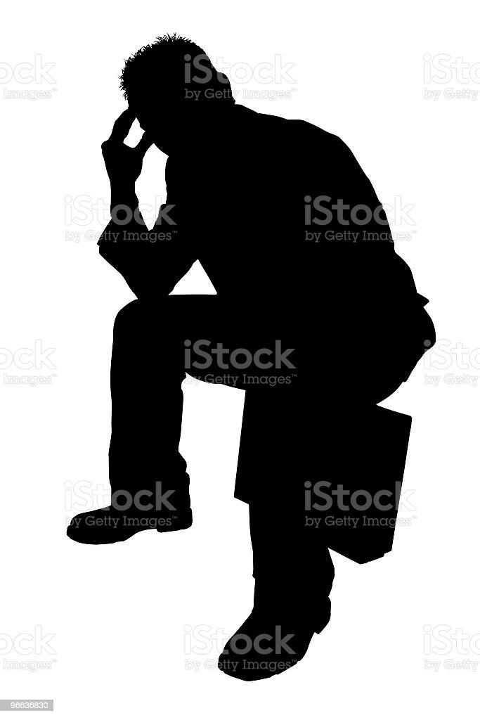 Silhouette With Clipping Path of Man Thinking royalty-free stock photo