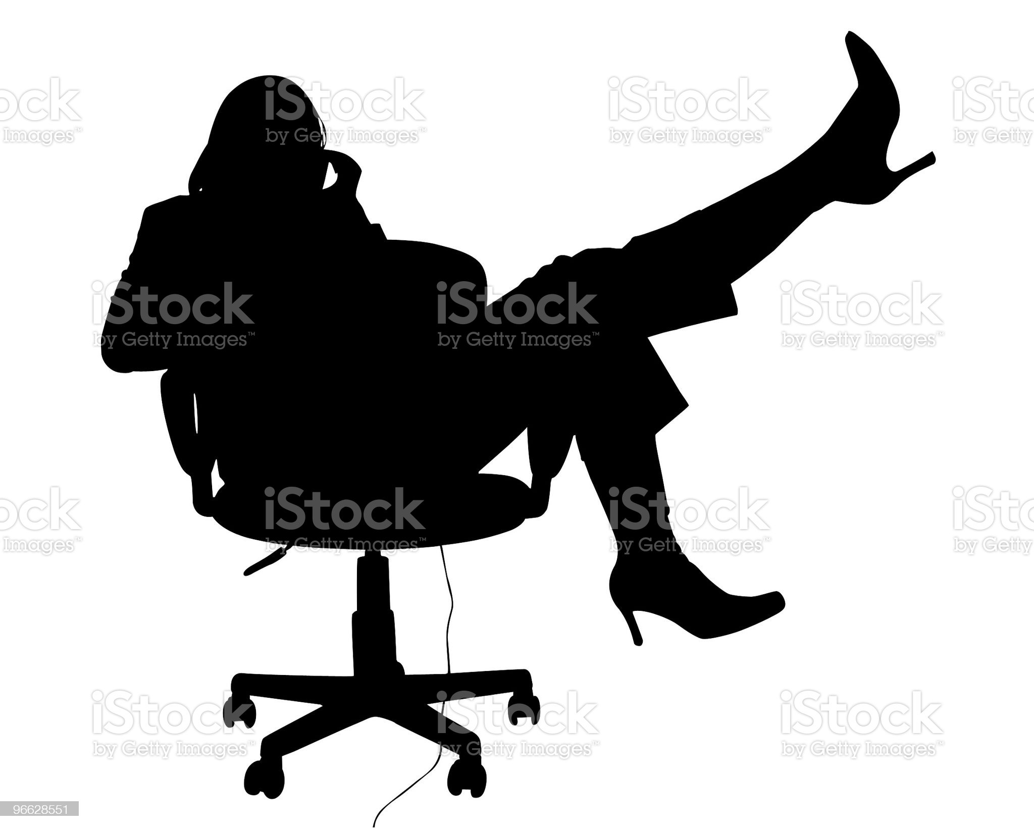Silhouette With Clipping Path of Woman in Chair on Phone royalty-free stock photo