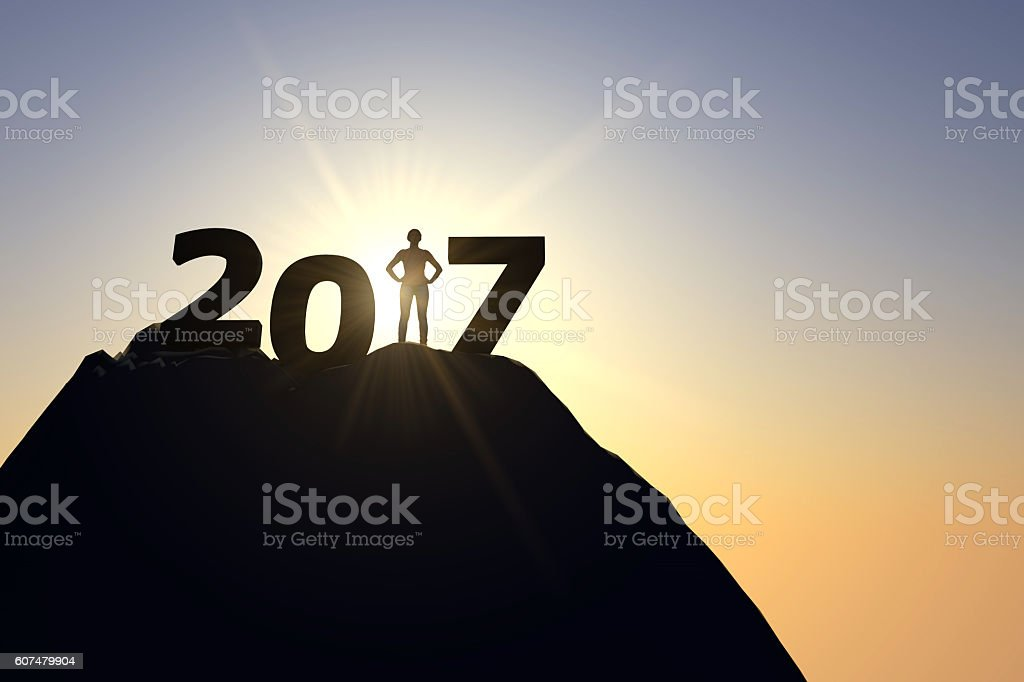 2017 silhouette with female figure stock photo