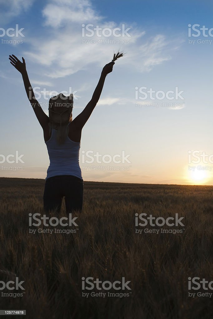 Silhouette woman standing in wheat field royalty-free stock photo