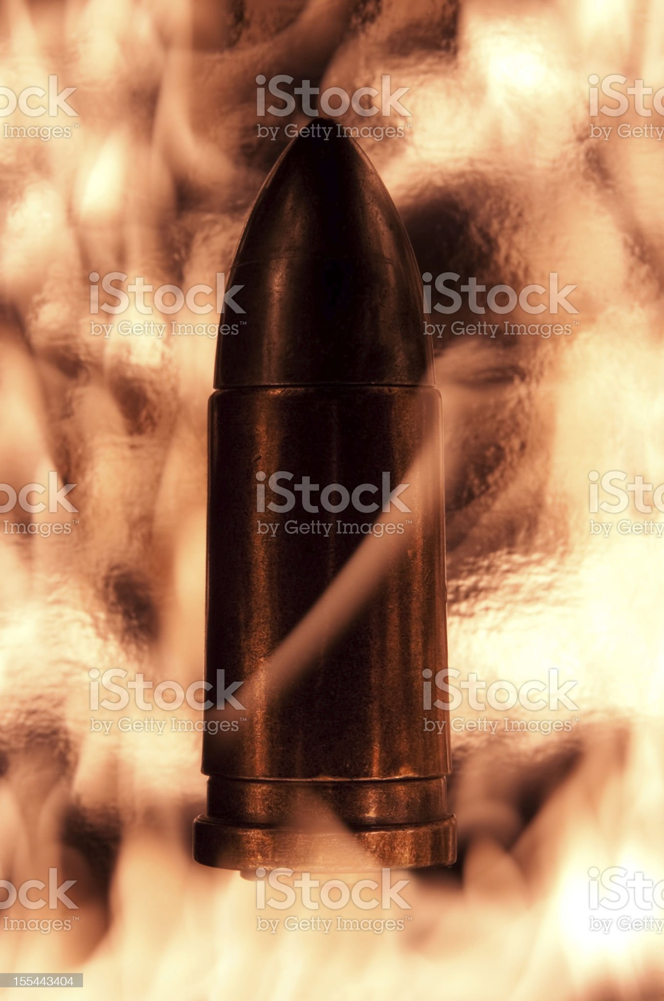 Silhouetted 9mm Bullet royalty-free stock photo
