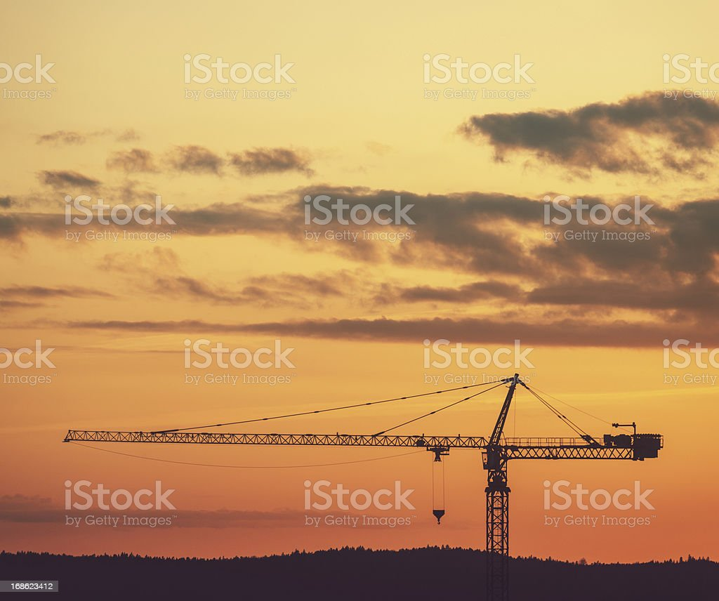 Silhouetted Crane royalty-free stock photo
