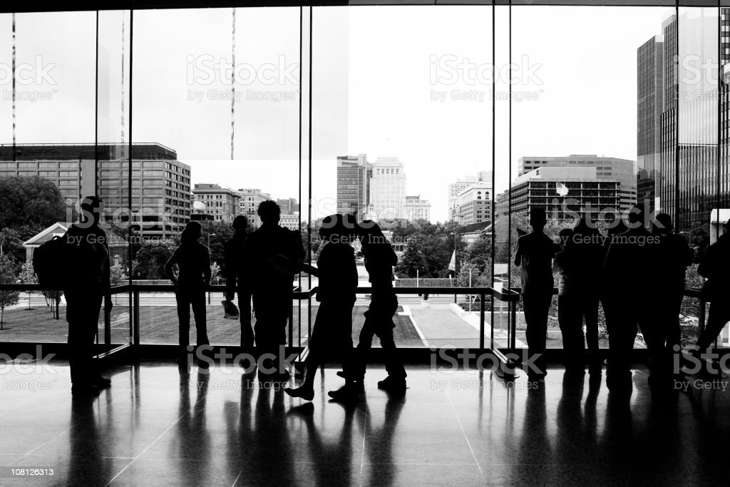Silhouetted Crowd (B&W) royalty-free stock photo