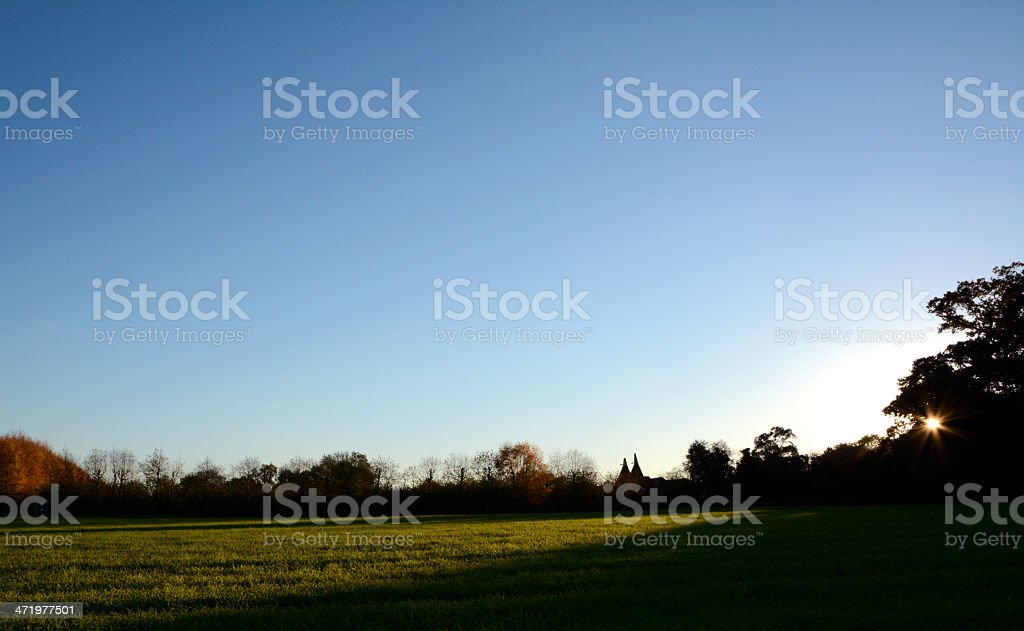 Silhouetted hedgerow and oast houses at sundown stock photo