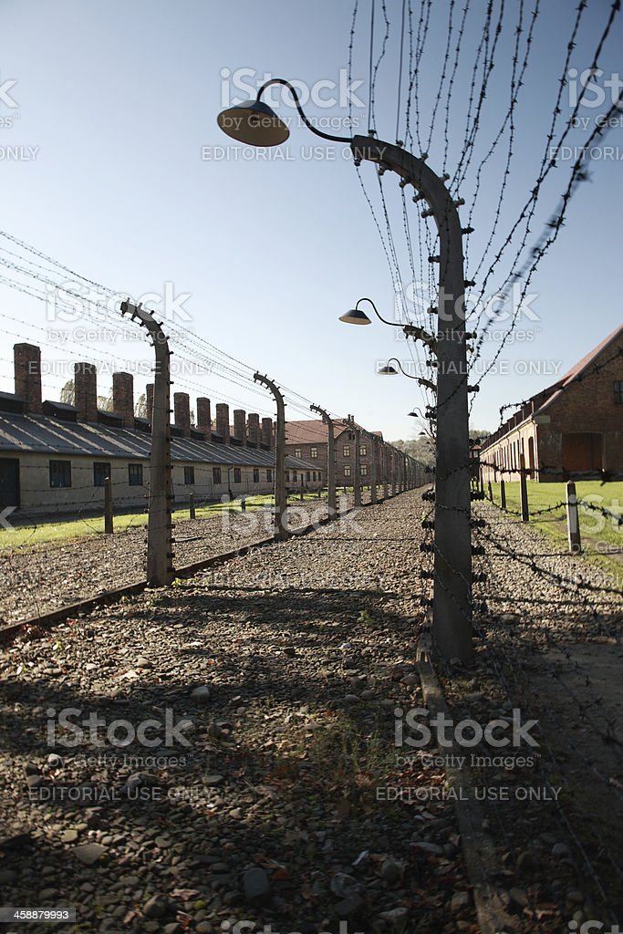 Silhouetted lamp and barbed wire, Auschwitz stock photo