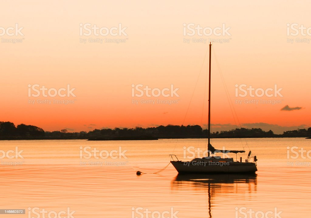 Silhouetted Sailboat royalty-free stock photo