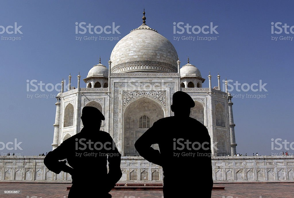 Silhouettes at Taj Mahal, Agra, India stock photo