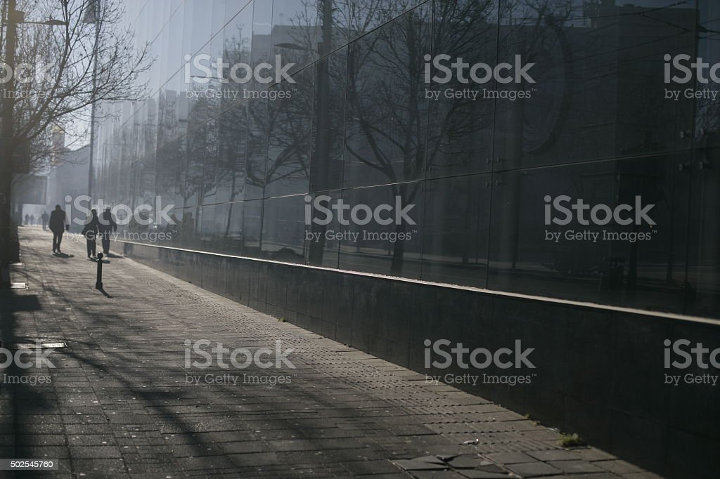 Silhouettes in a foggy morning stock photo