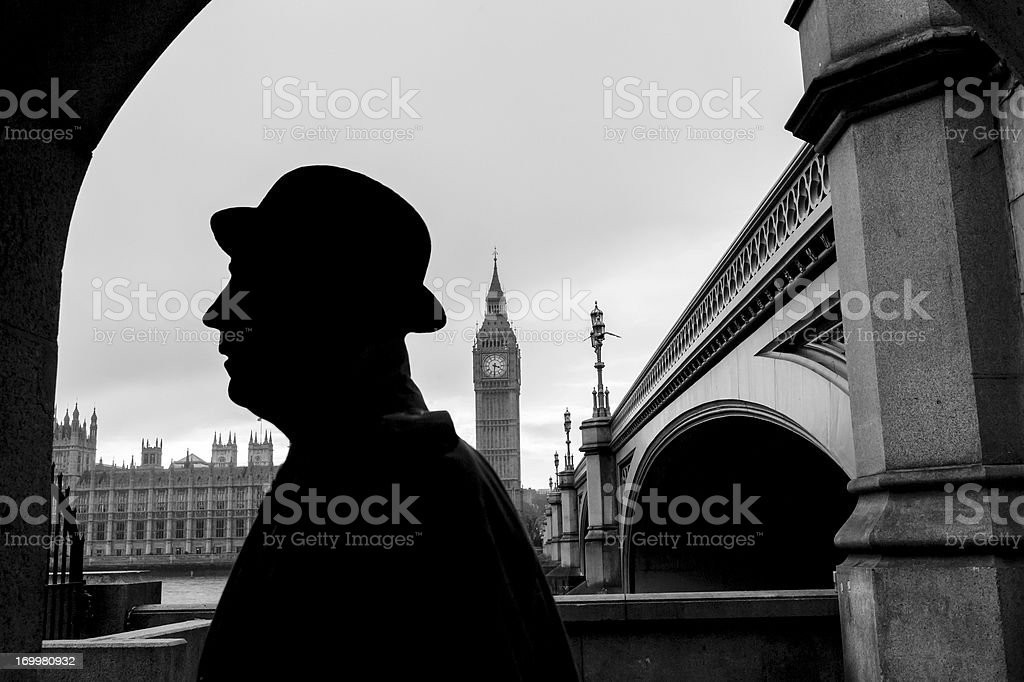 Silhouettes in London stock photo