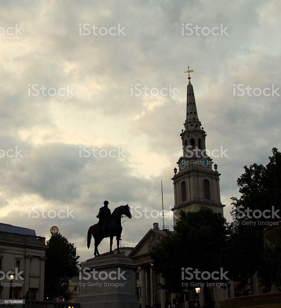 Silhouettes In Trafalgar Square of London stock photo
