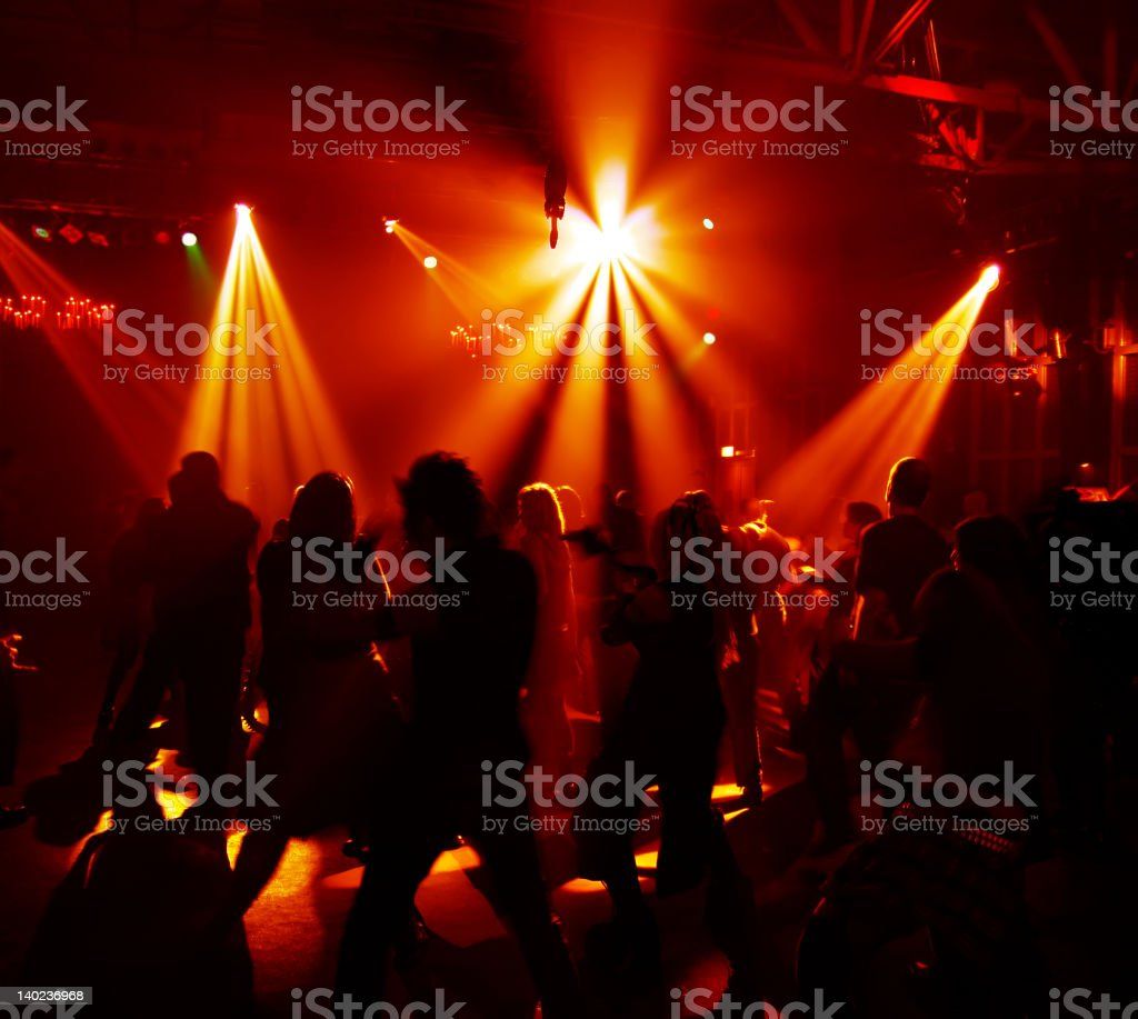 Silhouettes of a dancing teenagers royalty-free stock photo