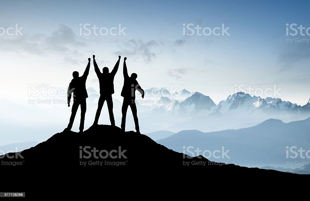 Silhouettes of a team stock photo