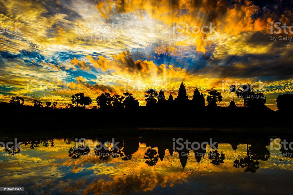 silhouettes of Angkor Wat stock photo