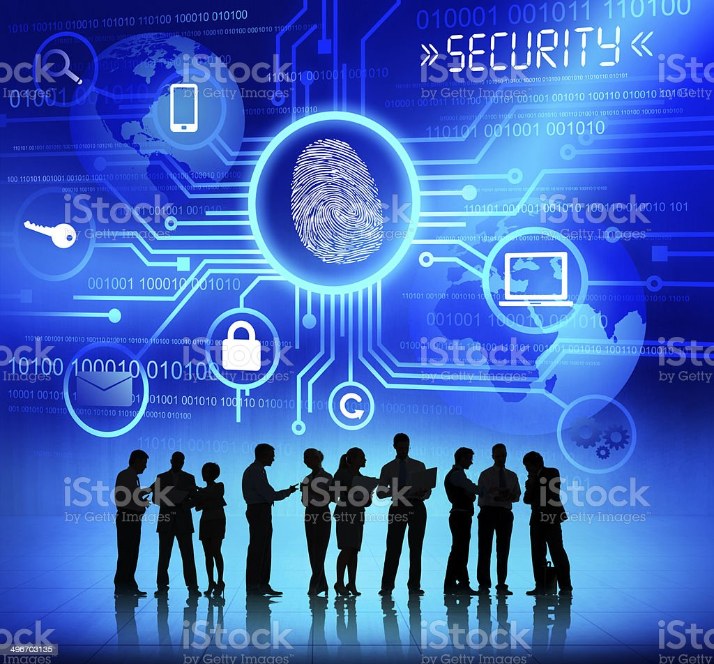 Silhouettes of Business People and Security Concepts stock photo