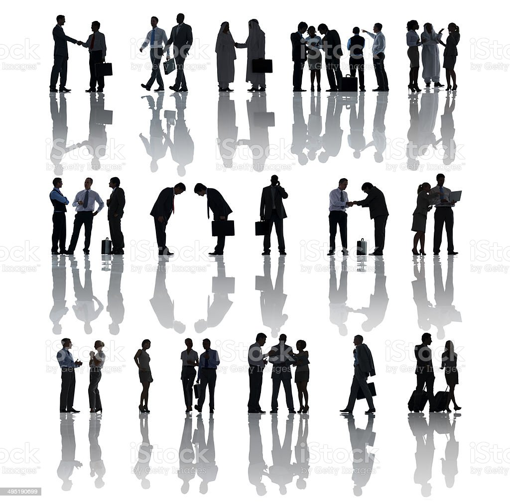 Silhouettes of Business People Working stock photo
