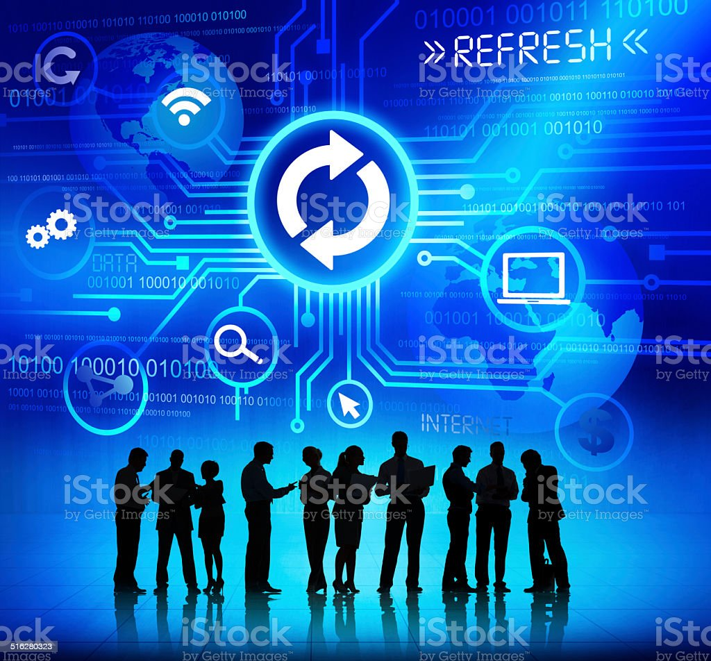 Silhouettes of Business People Working with Computer Concept stock photo
