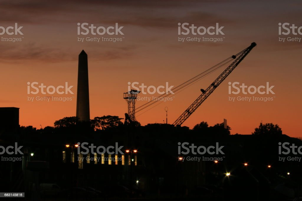 Silhouettes of Charlestown at dusk stock photo