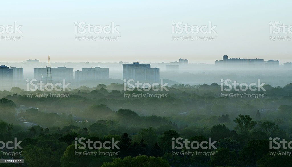 Silhouettes of city & forest stock photo