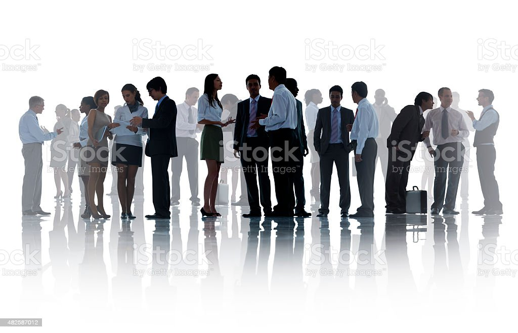 Silhouettes of Corporate Business People Working stock photo