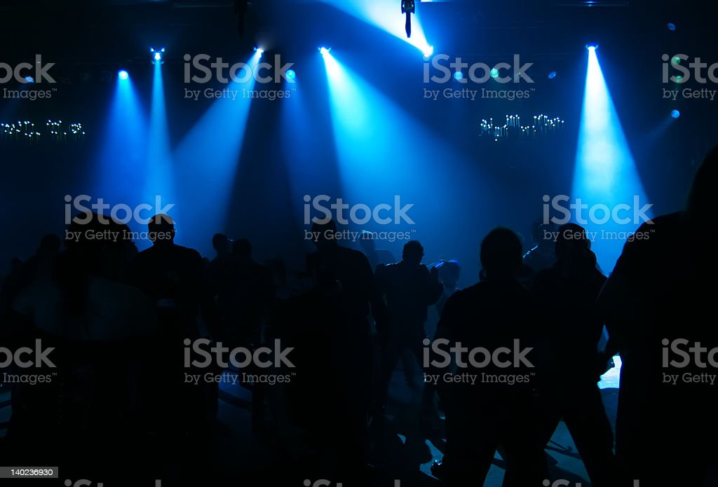 Silhouettes of dancing teenagers royalty-free stock photo