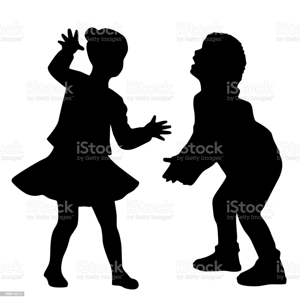 Silhouettes of kids royalty-free stock photo